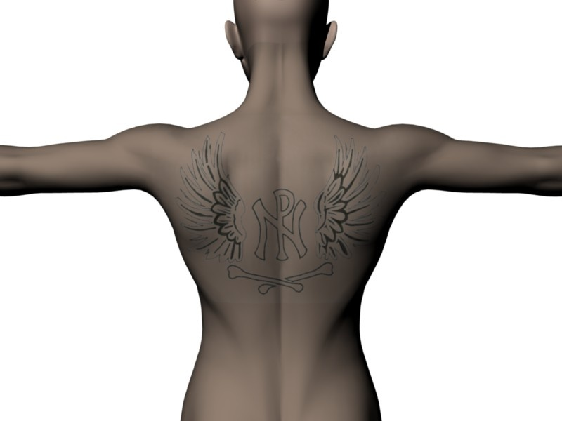 Wings and bones back tattoo. Very symbolic. Of what exactly, I don't know.