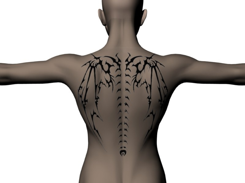 Wing and spine tattoo. Wouldn't want to meet this on a dark night.