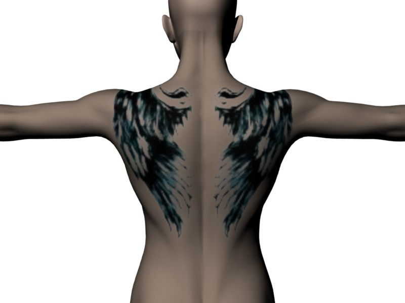 Made with the Back Tattoo scene (insert your own photo) Angel wing tattoo