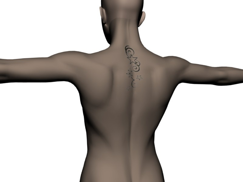 Star neck tattoo. Quite subtle. Made with the Back Tattoo scene (insert your