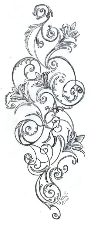 Floral pattern : Back Tattoo