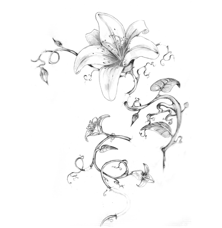 Flower sketch tattoo : Back